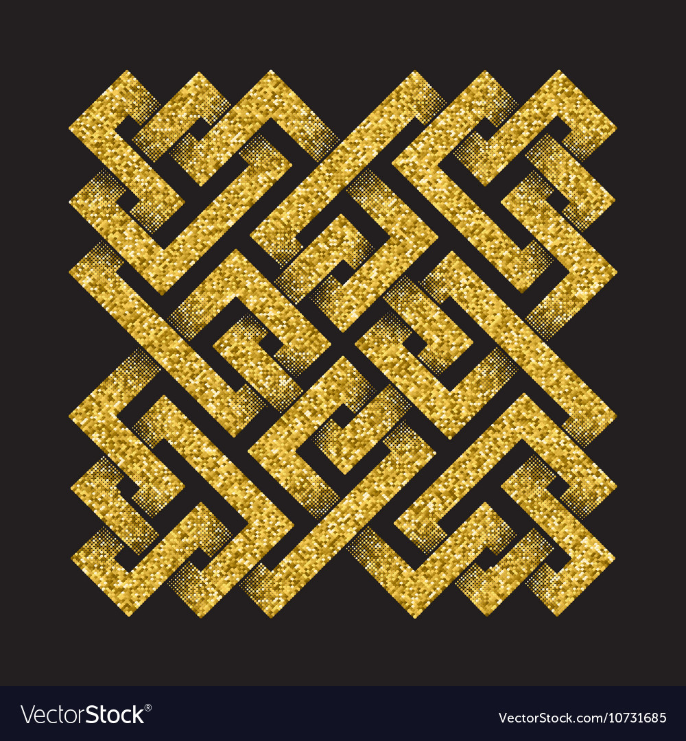Golden glittering logo template in Celtic knots