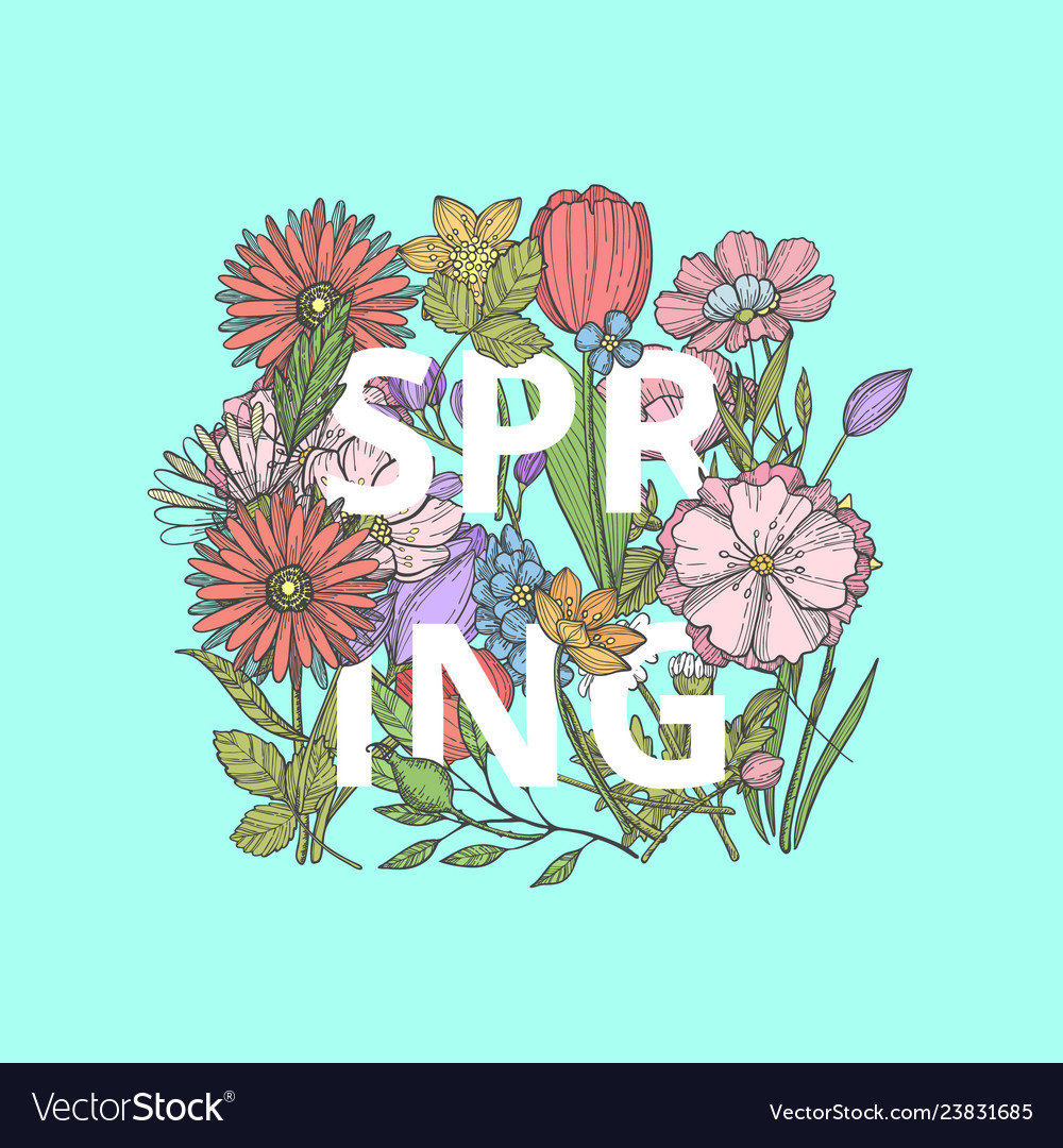 Hand drawn flowers concept with word spring