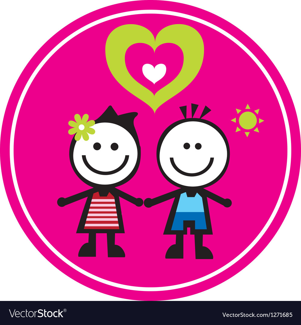 Happy family sticker vector image