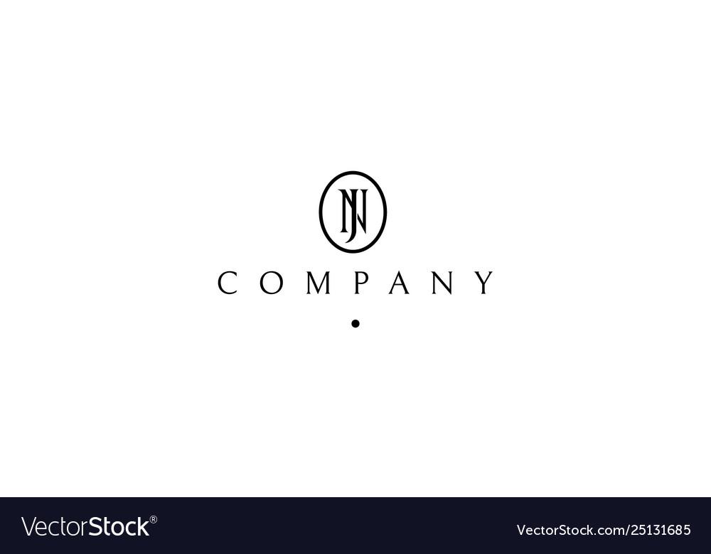 Initials letter n and j black logo design 4