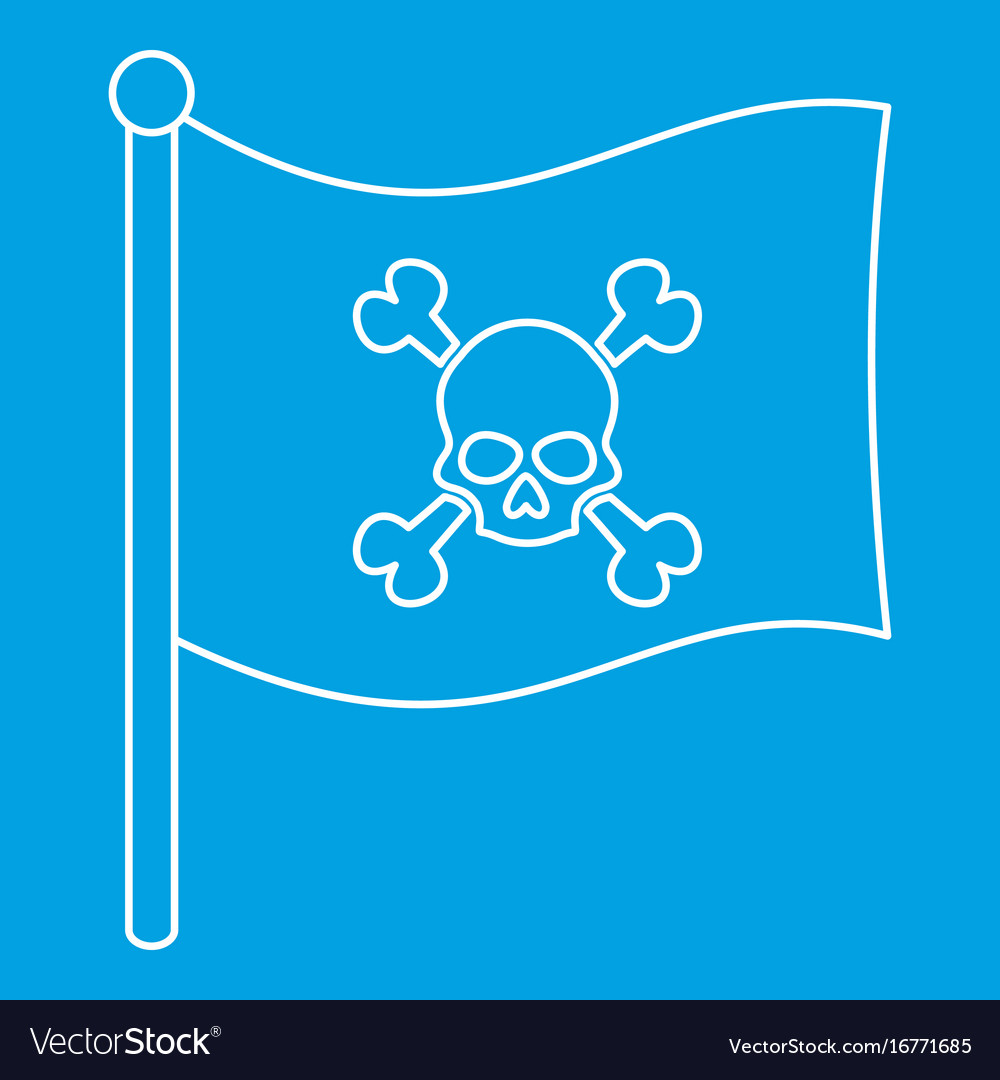 Pirate flag icon outline style
