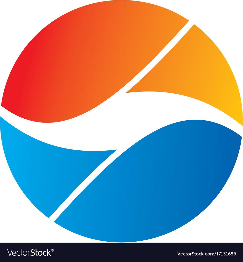 Round abstract yin yang balance logo
