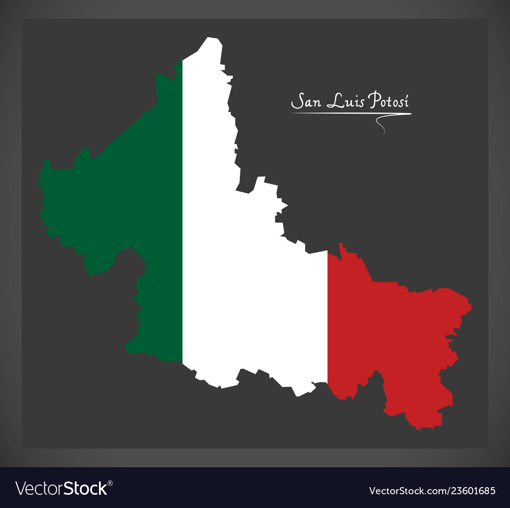 San Luis Potosi Map With Mexican National Flag Vector Image