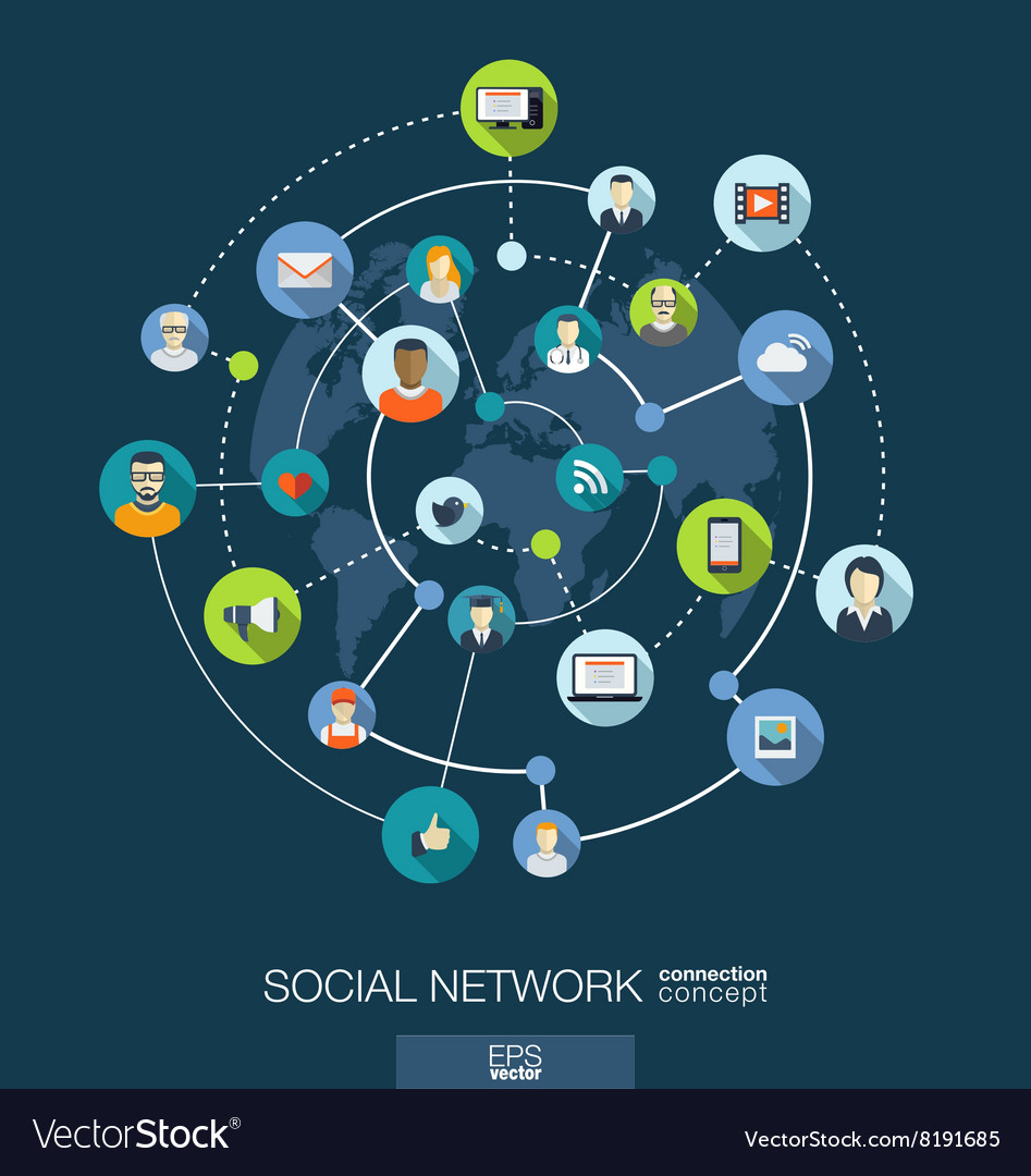 Social network connection concept Abstract Vector Image