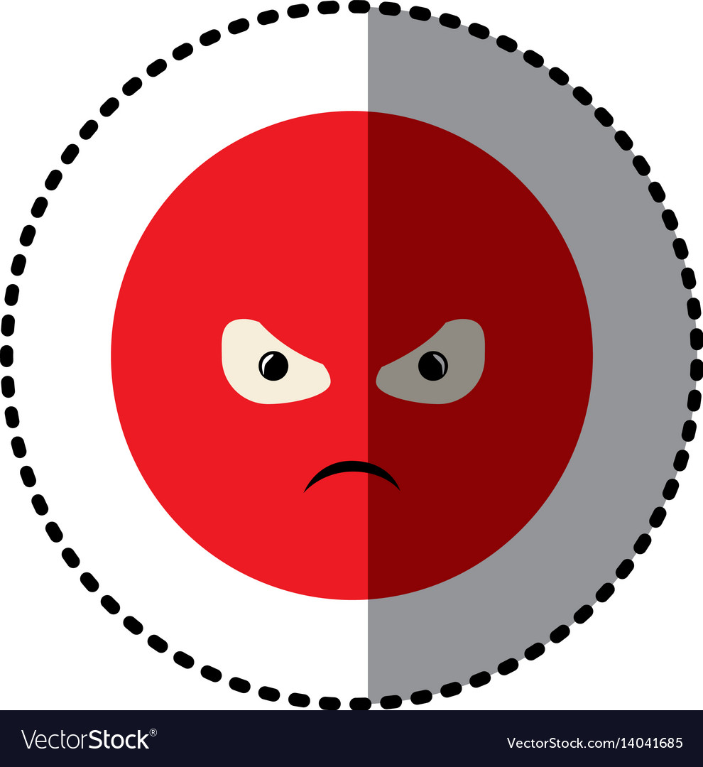 Sticker colorful emoticon furious face expression