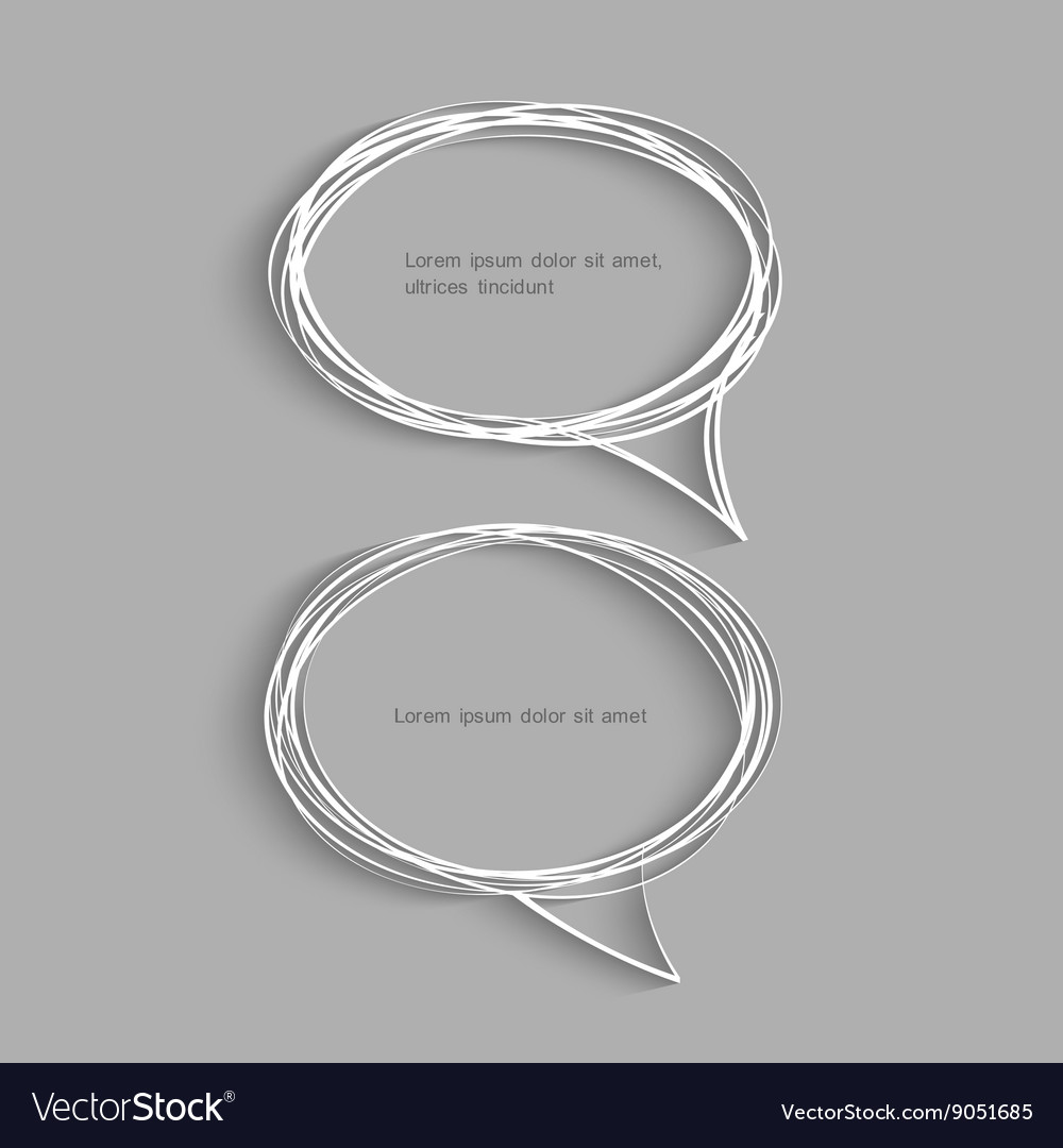 Two hand drawn speech bubbles with shadow