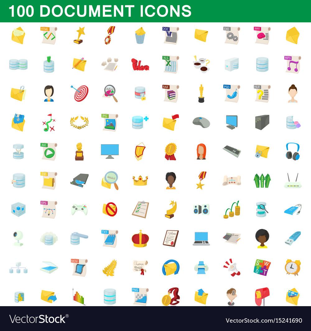 100 document icons set cartoon style