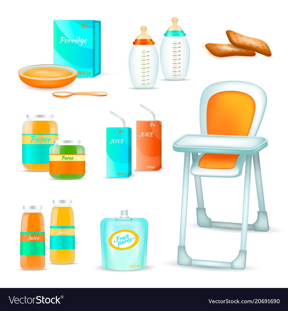 Baby feeding 3d set vector image