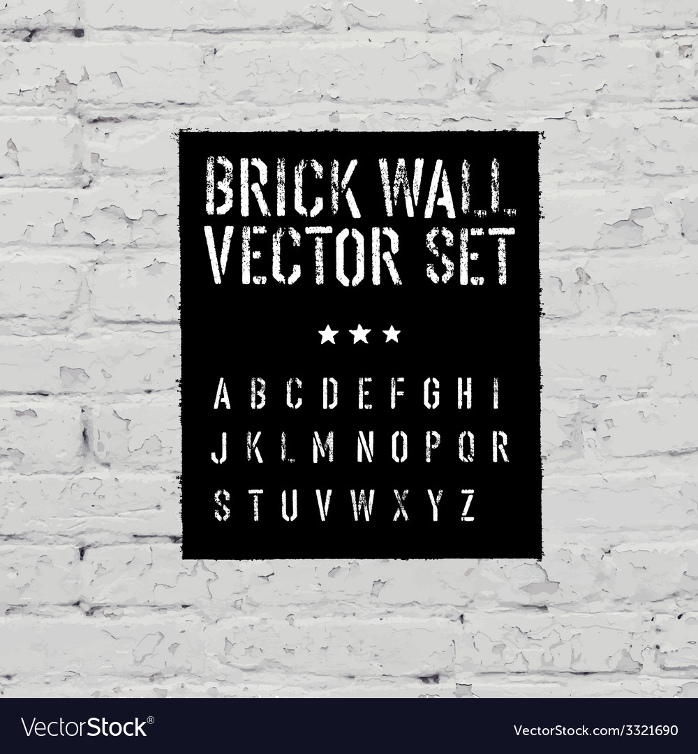 Brick wall and stencil alphabet set