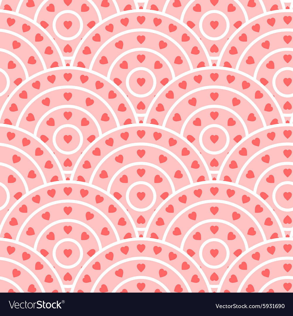Circle With Heart Shape Seamless Pattern
