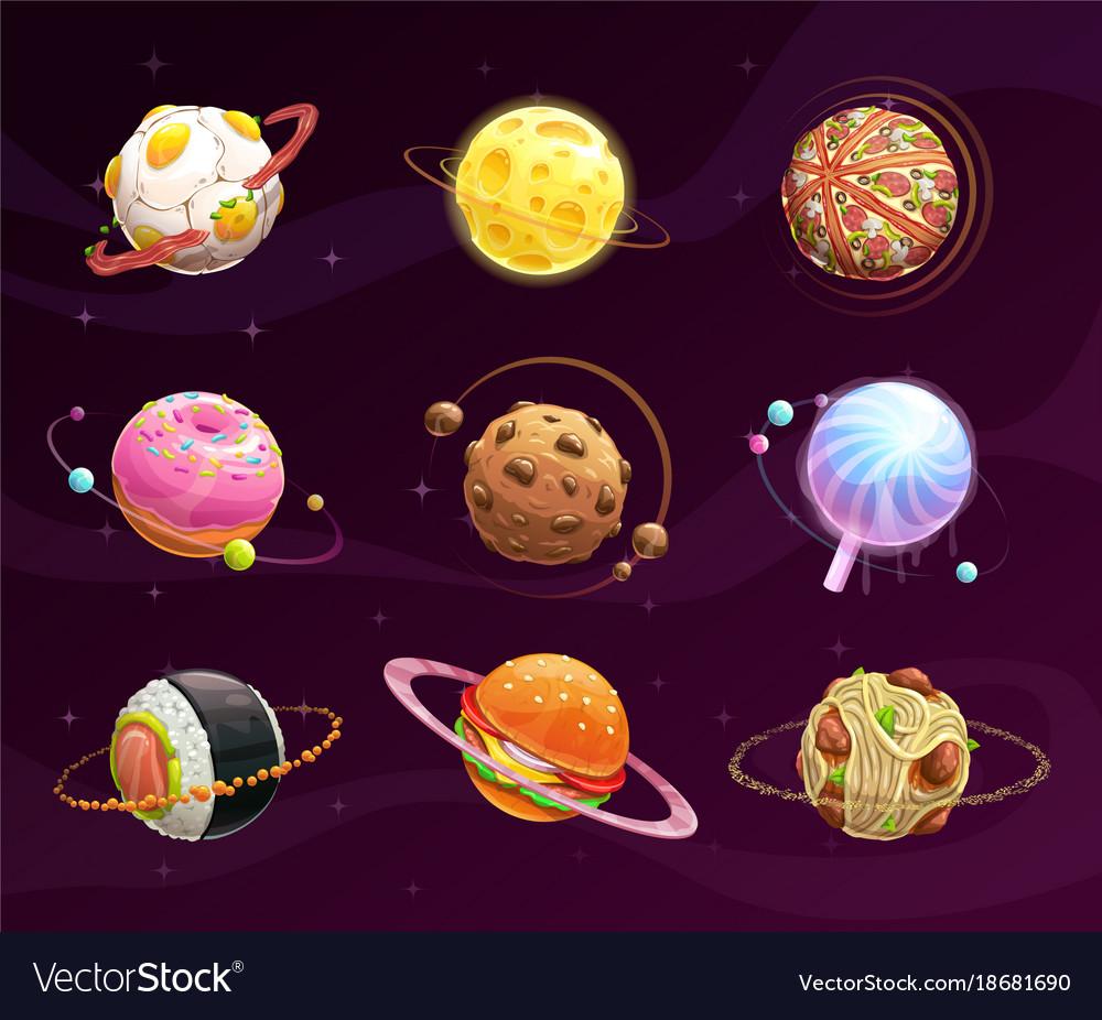 Food Planet Galaxy Concept Royalty Free Vector Image