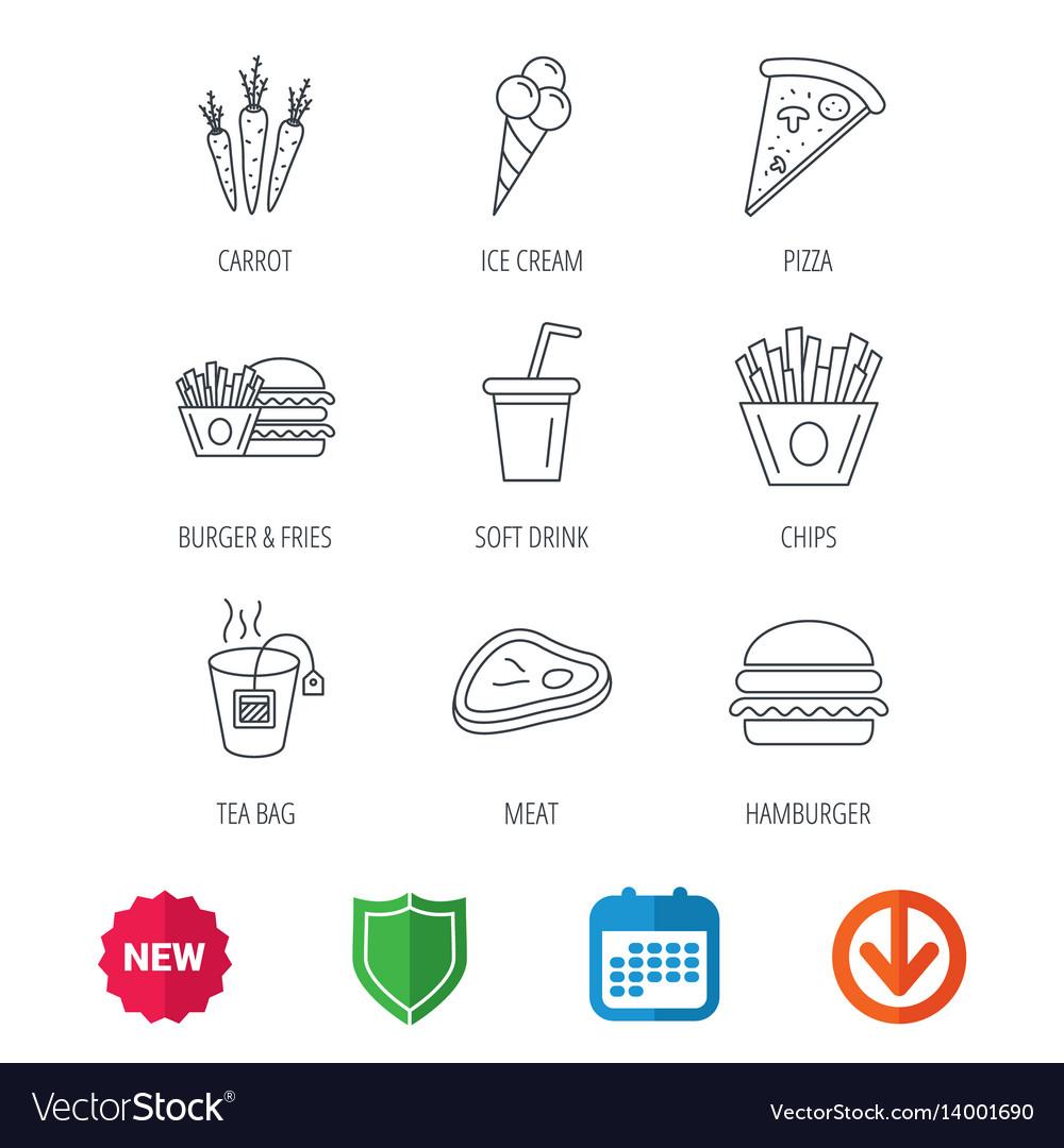 Hamburger pizza and soft drink icons tea bag