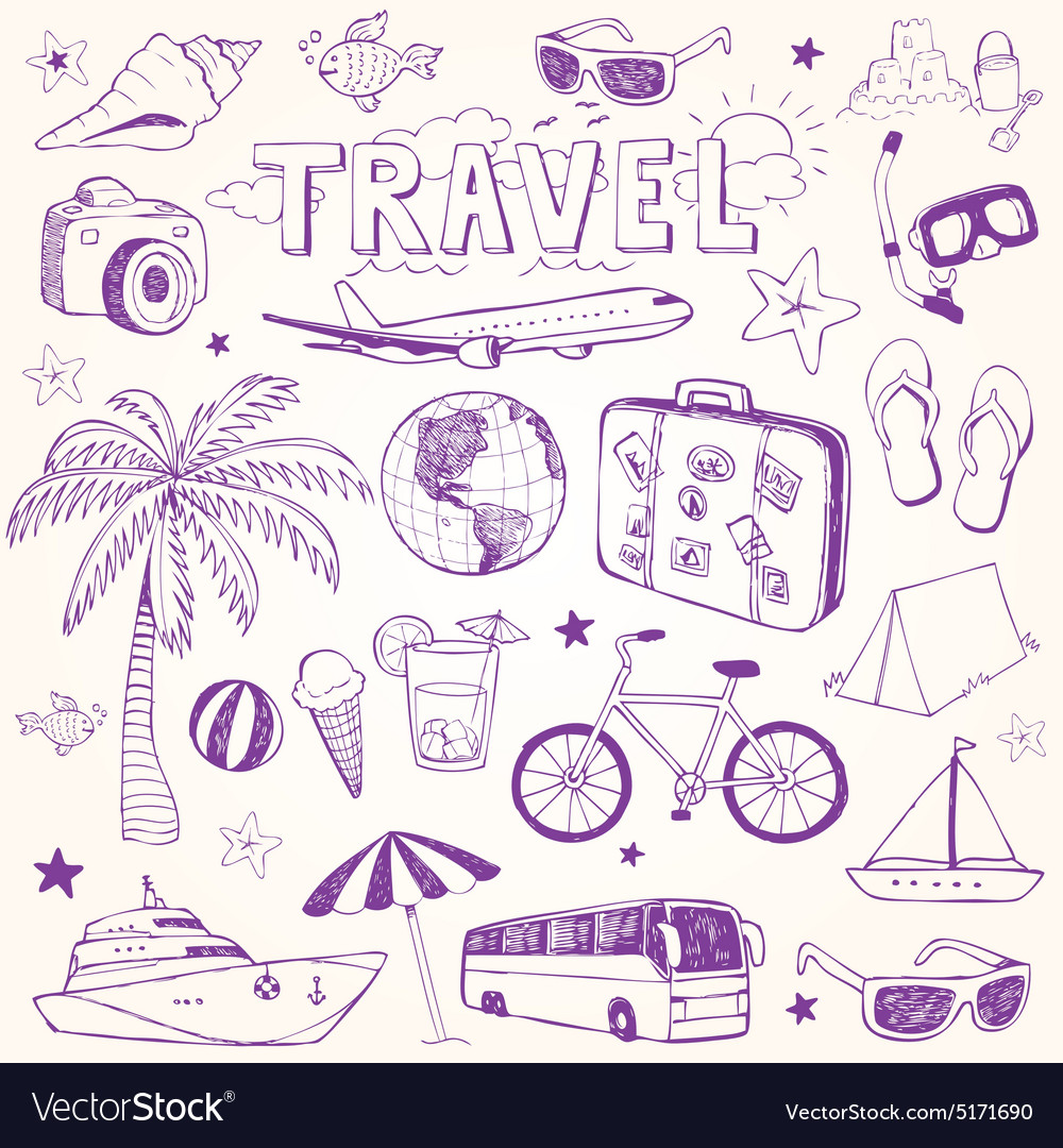 Hand drawn beach and travel doodles