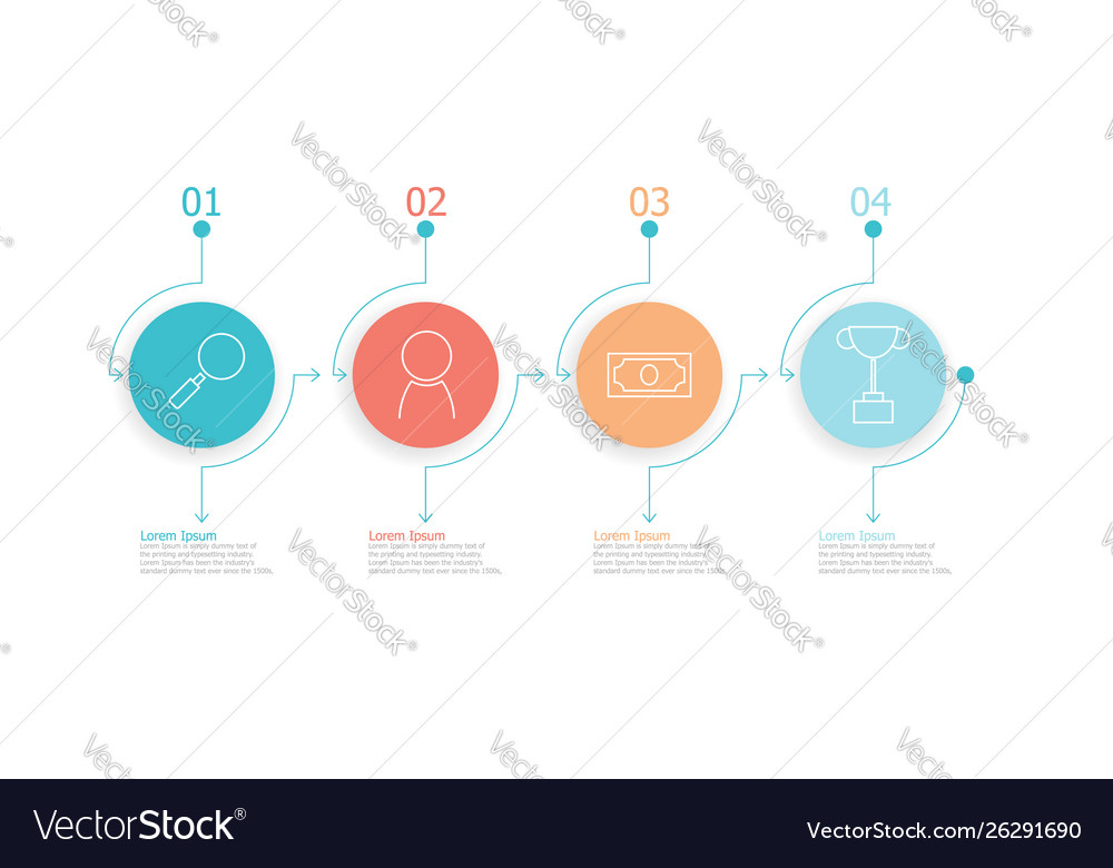 Horizontal timeline infographics 4 steps