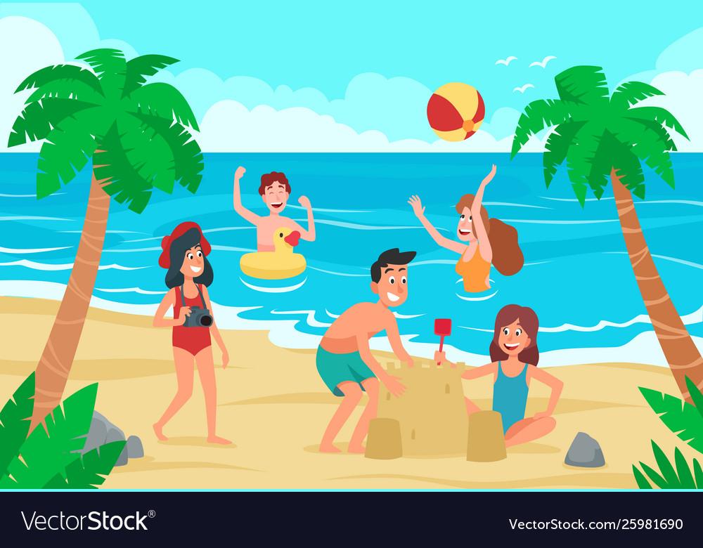 Kids beach happy children fun on sea shore sand
