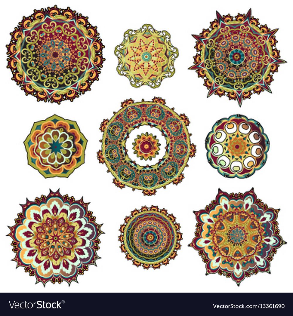Mandala colorful set