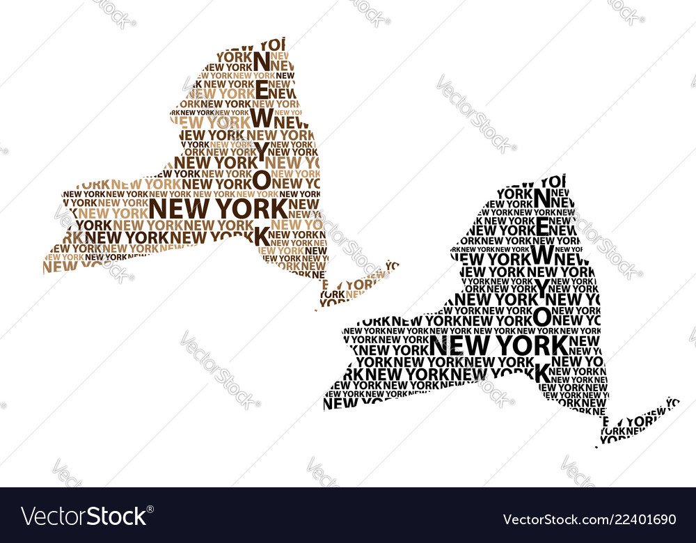 Map Of New York State Royalty Free Vector Image