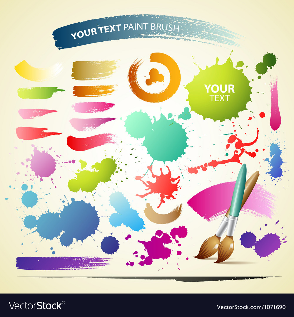 Paint brush colorful watercolor collections backgr