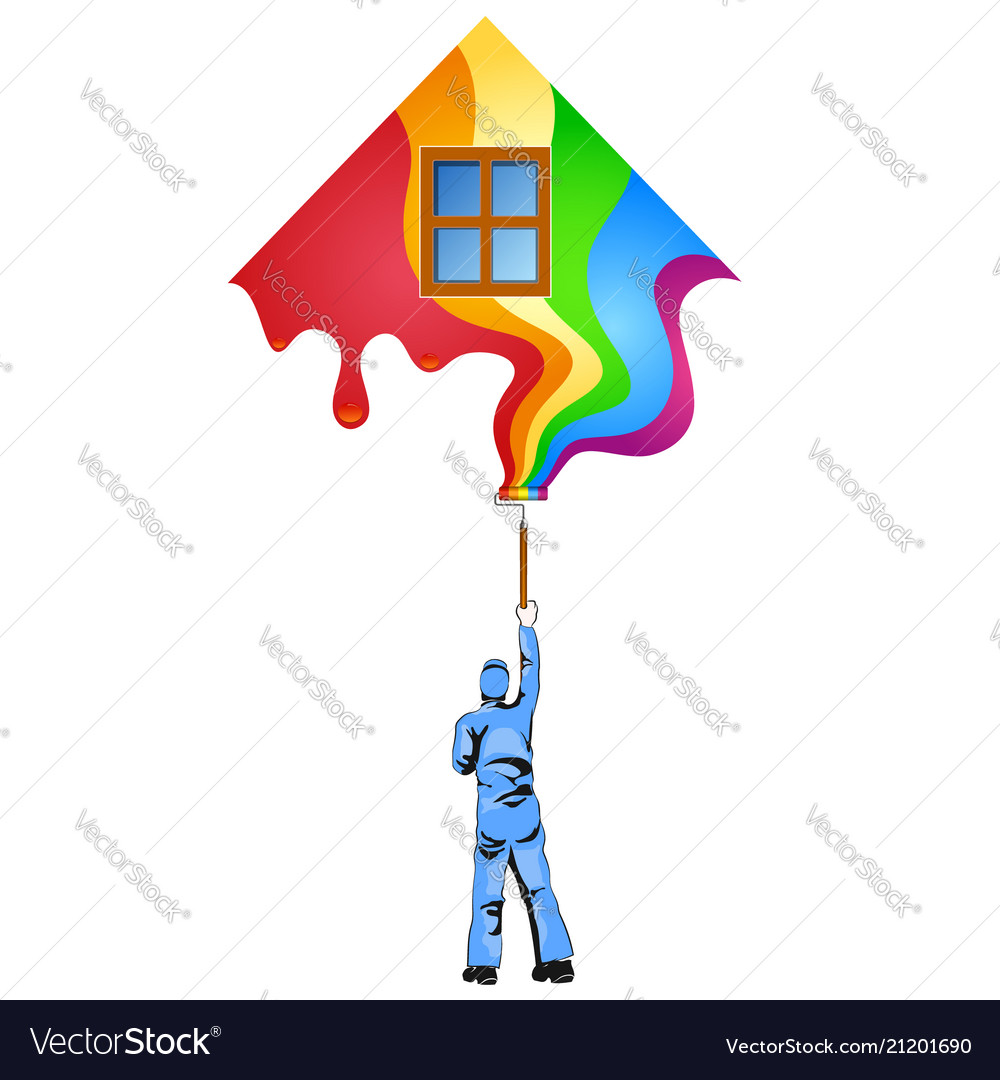 Painter with roller paints the house