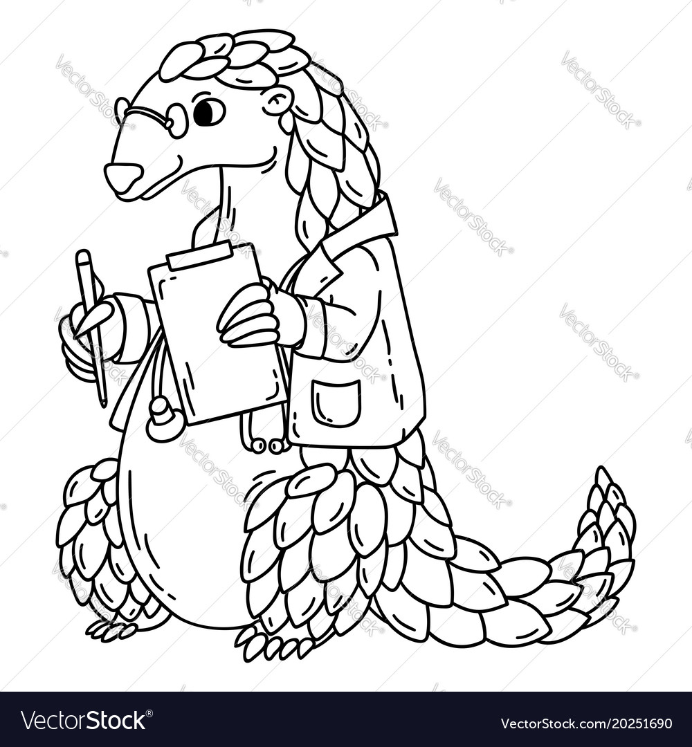 Pangolin the doctor coloring book Royalty Free Vector Image