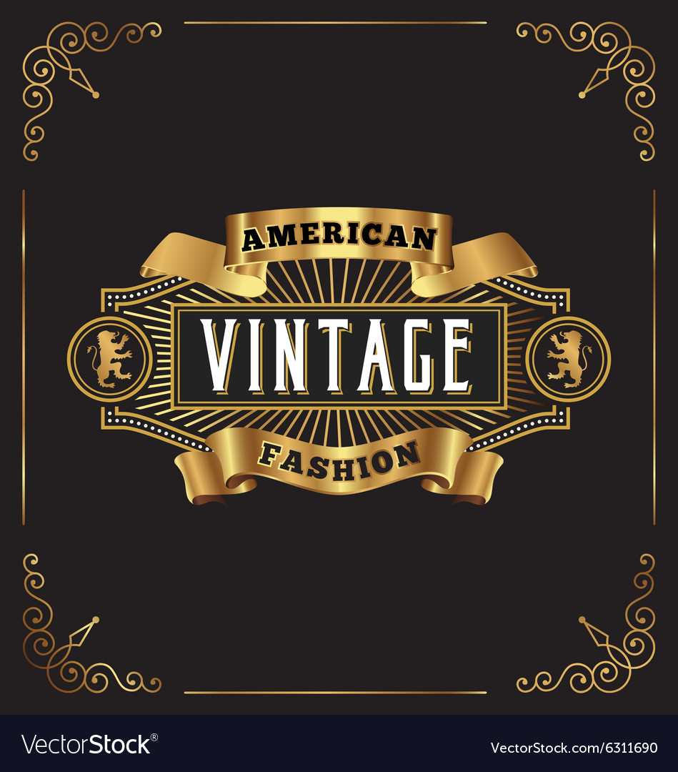 Premium golden vintage frame label design