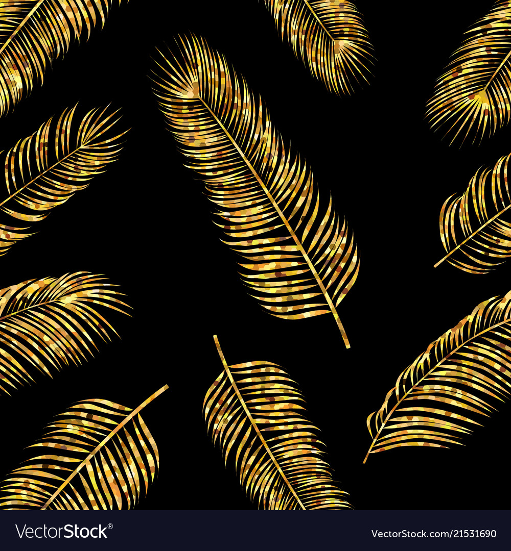Seamless pattern with golden palm leaves