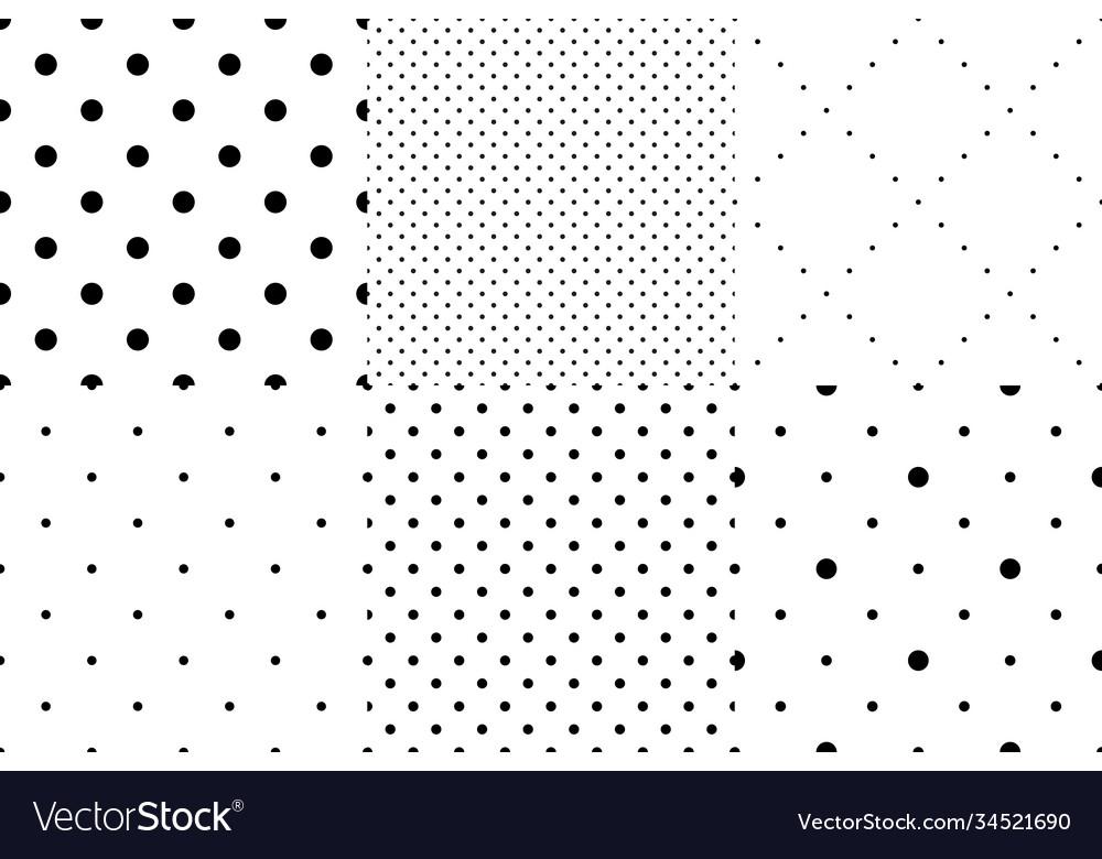 Set seamless dot patterns dotted background