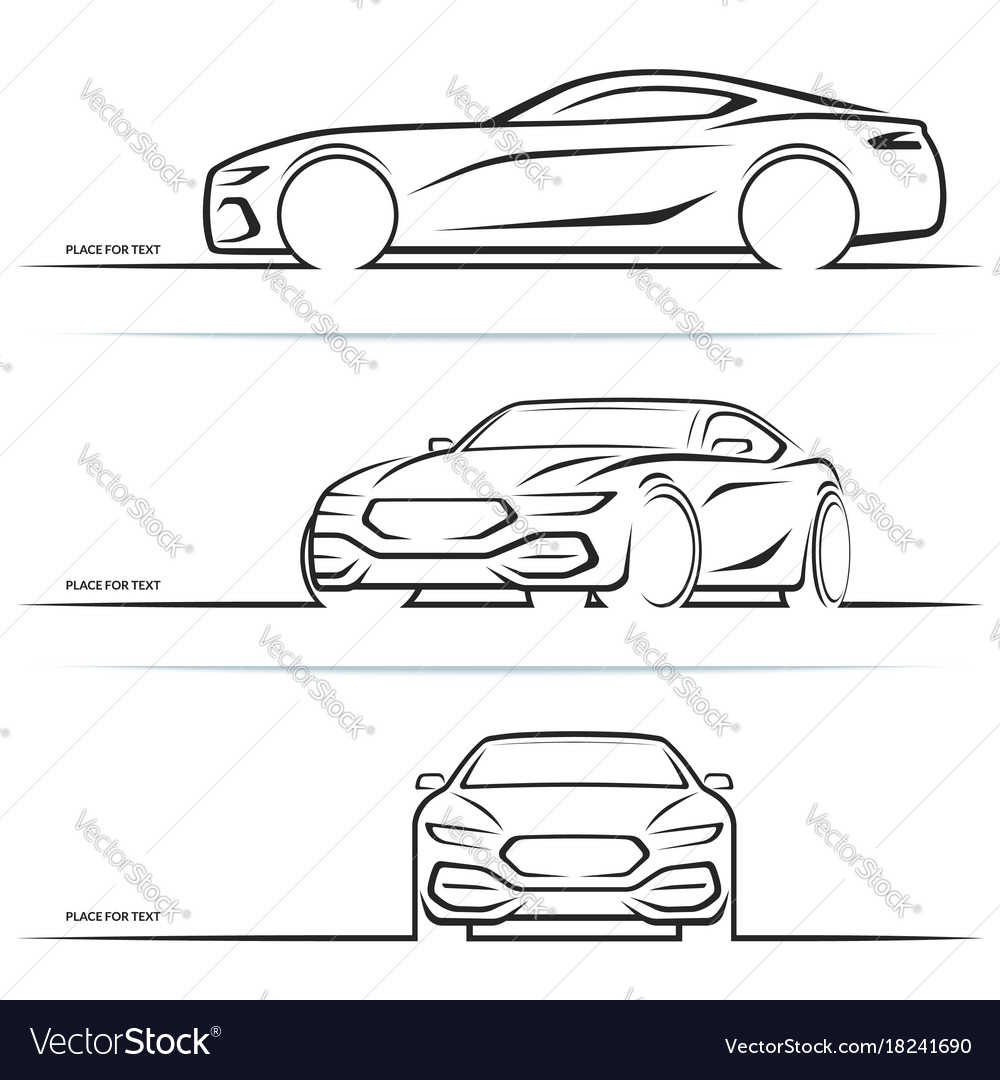 Sports Car Silhouettes Royalty Free Vector Image