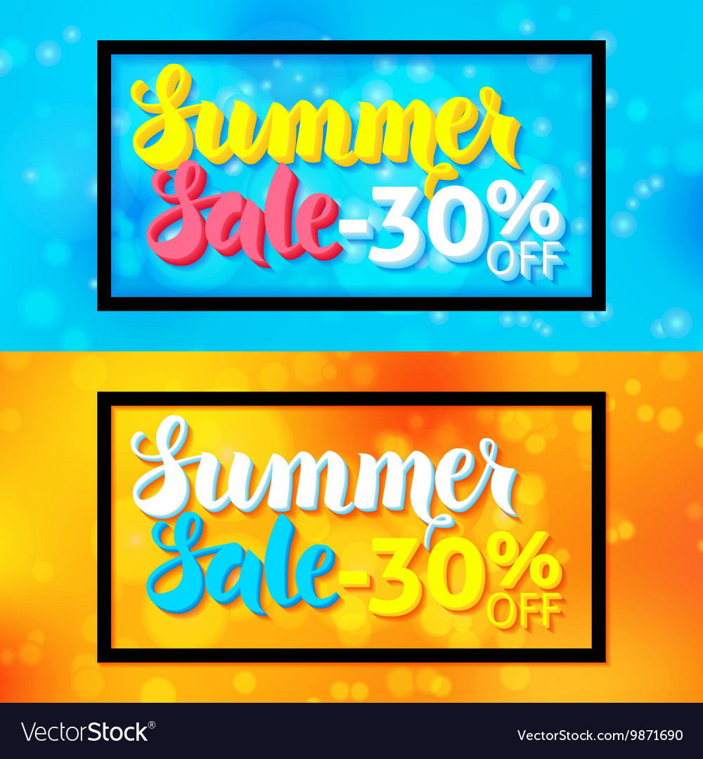 Summer Sale Horizontal Website Banners with Black