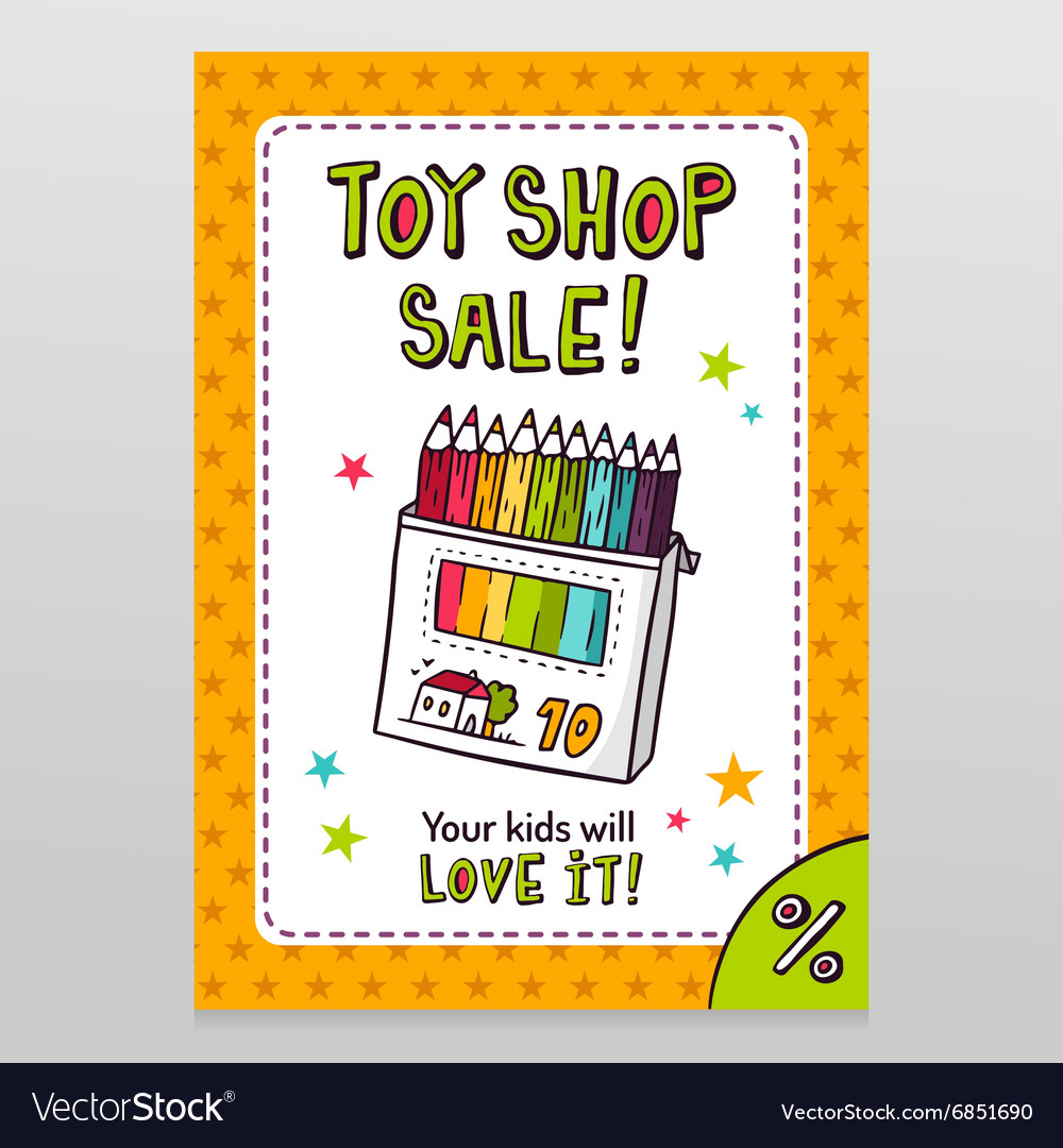 Toy shop sale flyer design with box of colored vector image