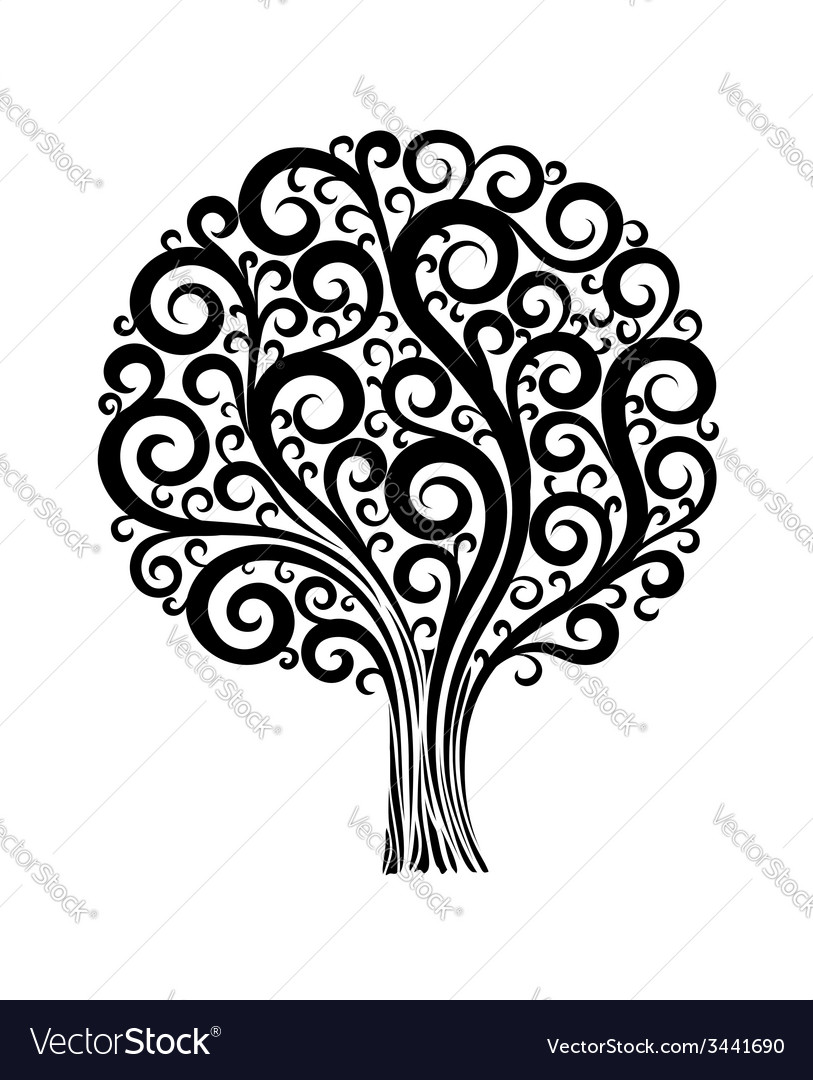Tree in a flower design with swirls and flourishes