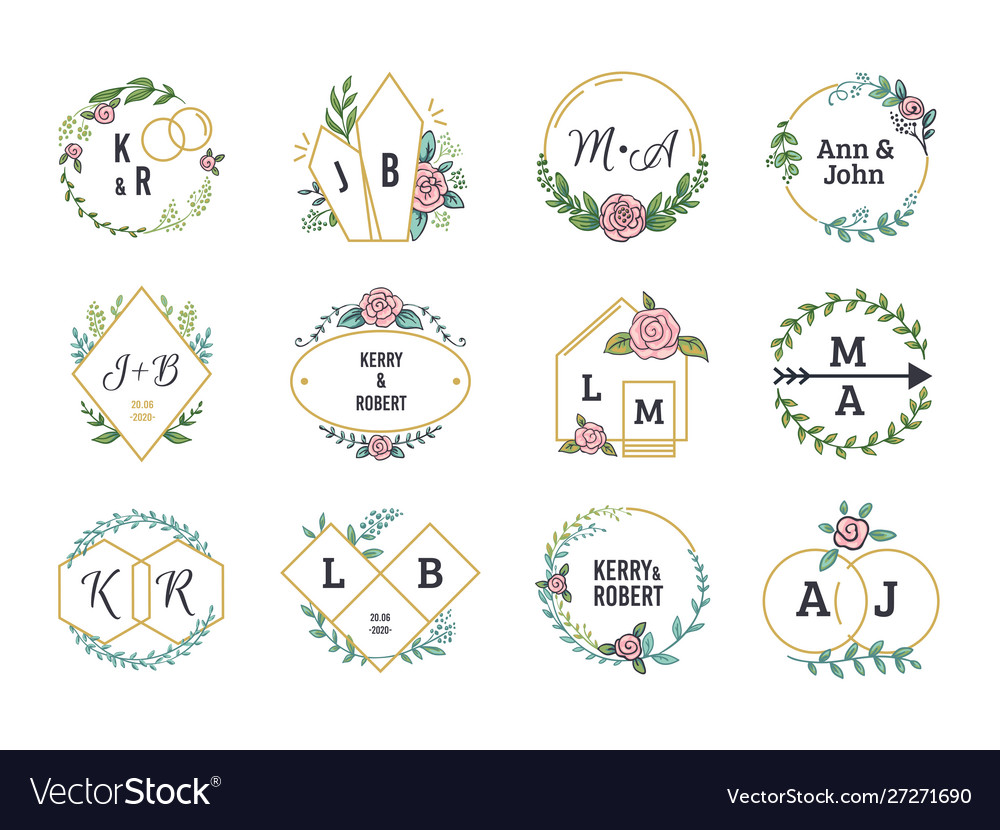 Wedding logos floral boho monograms and frames