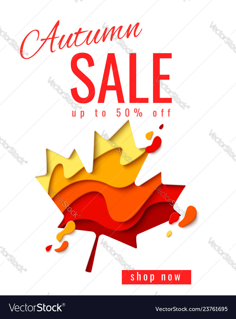 Autumn sale template banner with maple leaf