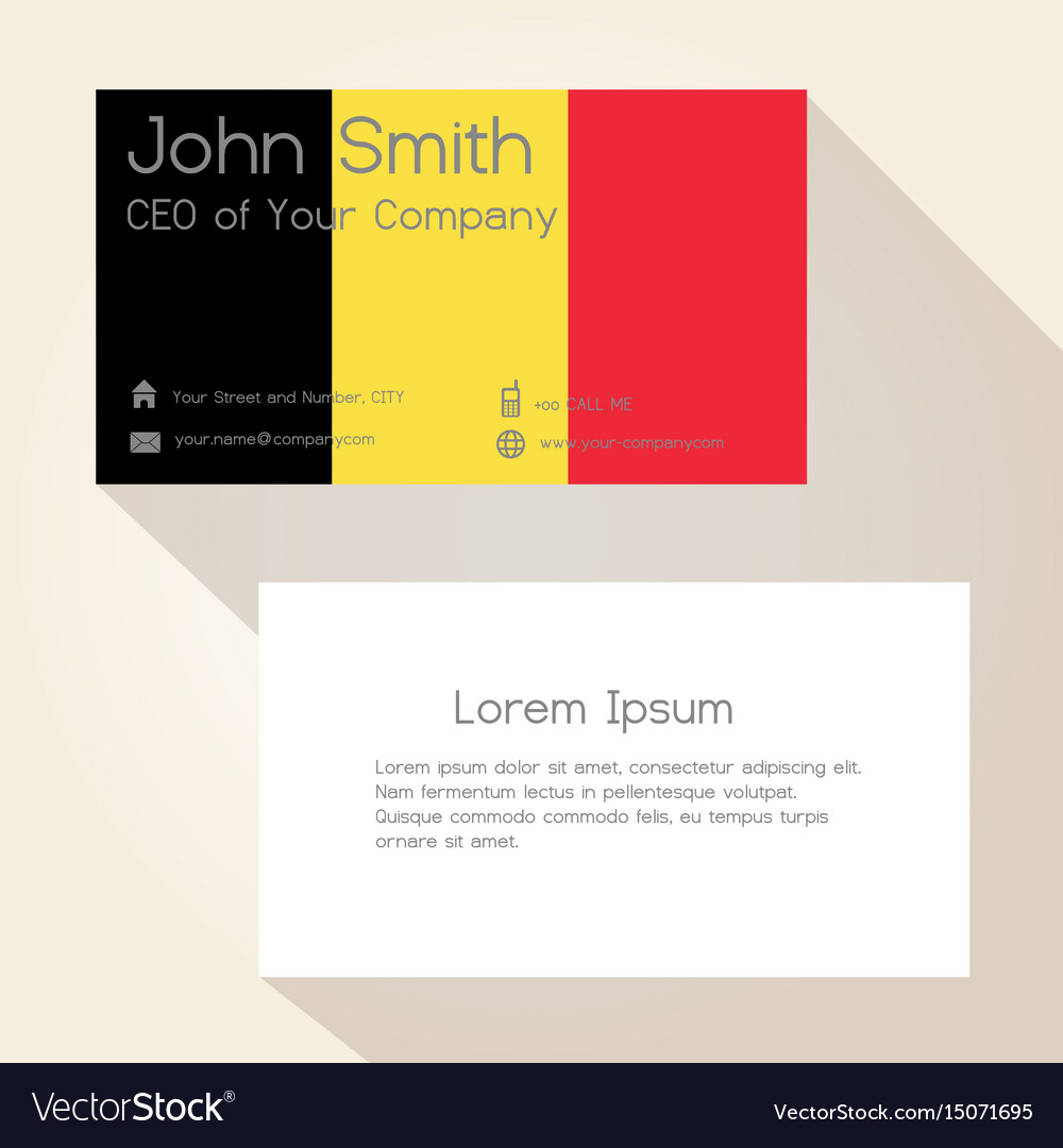 Belgium flag color business card design eps10 vector image reheart Choice Image