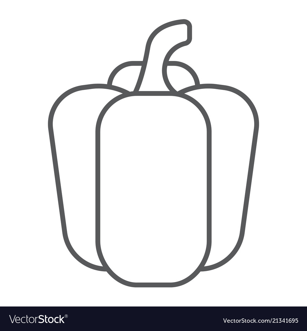 Bell pepper thin line icon vegetable and diet