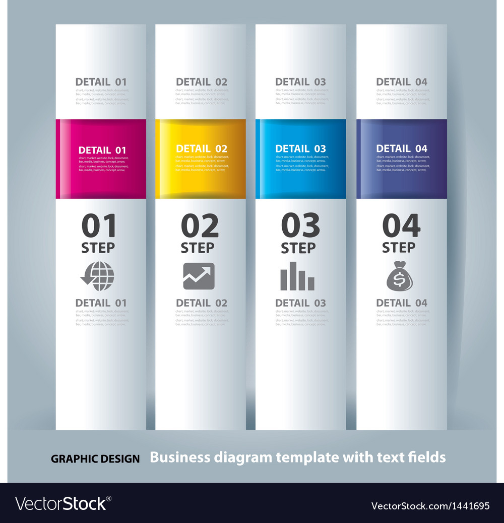Business step paper chart and numbers banner