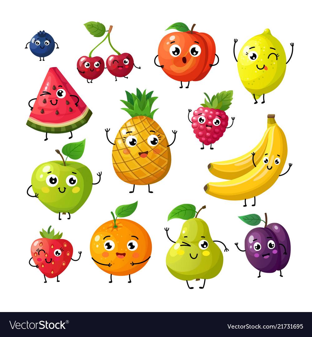 Cartoon funny fruits happy kiwi banana raspberry