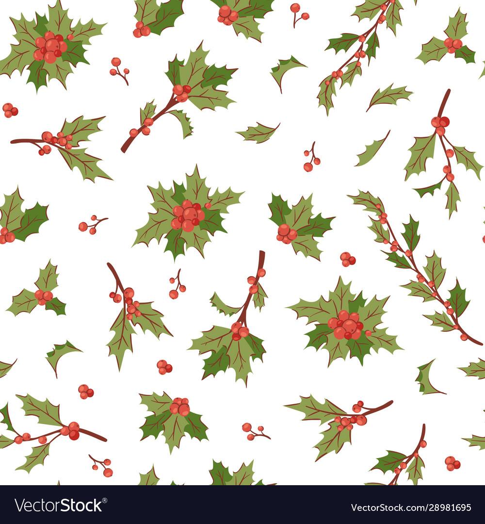 Christmas berry holly mistletoe leaves seamless