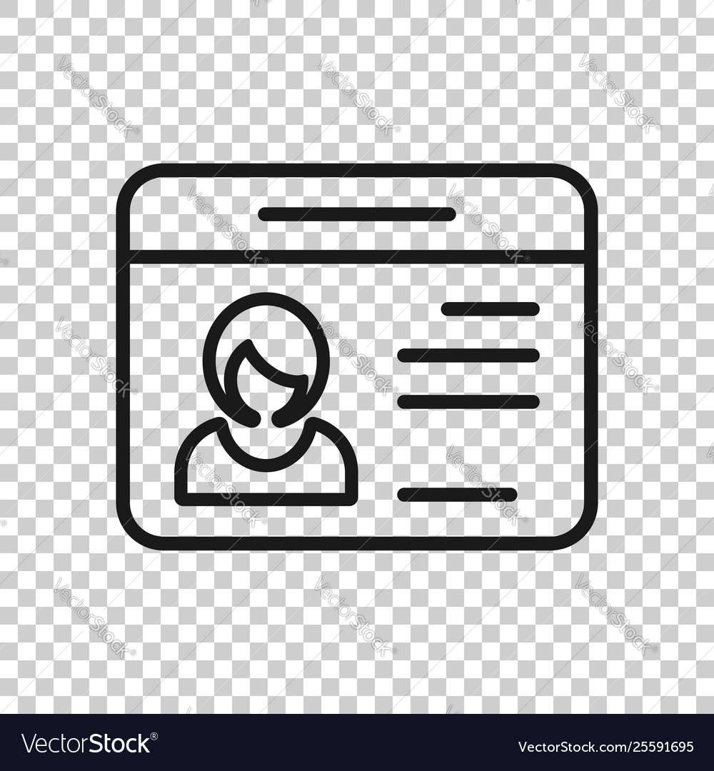 id card icon in transparent style identity tag on vector image vectorstock