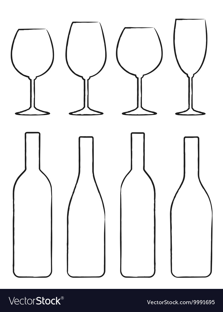 Linear set of wine bottle and glasses