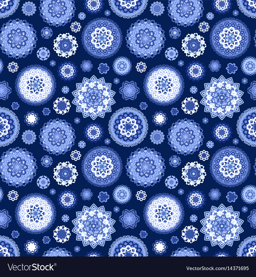 Monochrome blue seamless texture with fancy