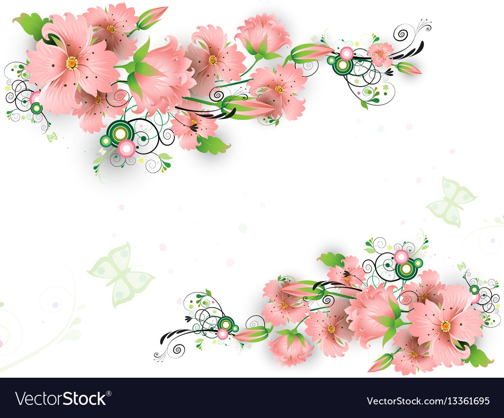 Pink abstract flowers vector image