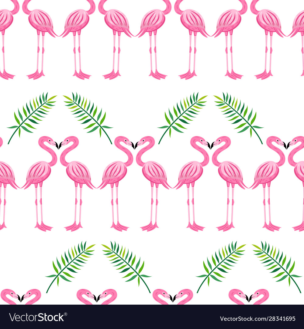 Pink flamingo and tropical leaves seamless pattern