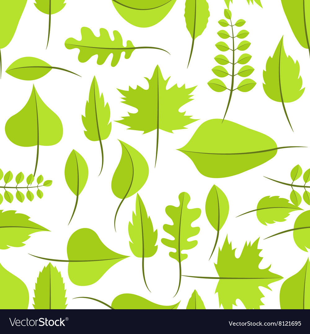 Spring green withered leaves seamless pattern