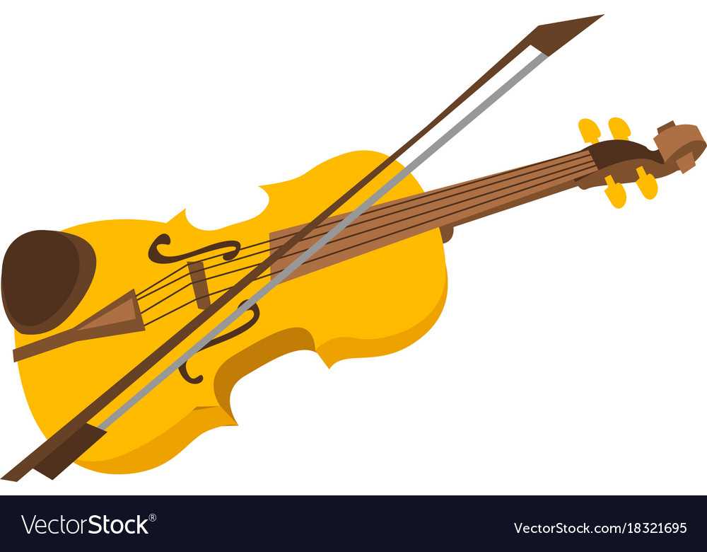 violin with bow cartoon royalty free vector image rh vectorstock com cartoon violin 1995 tapes cassettes ebay cartoon violin drawing