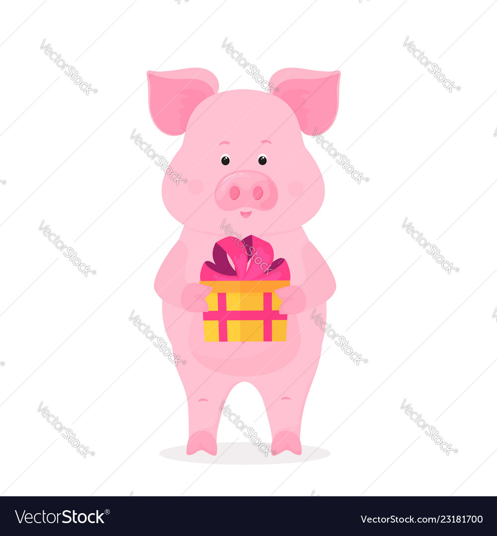 A funny pig holding a box with a gift tied with a