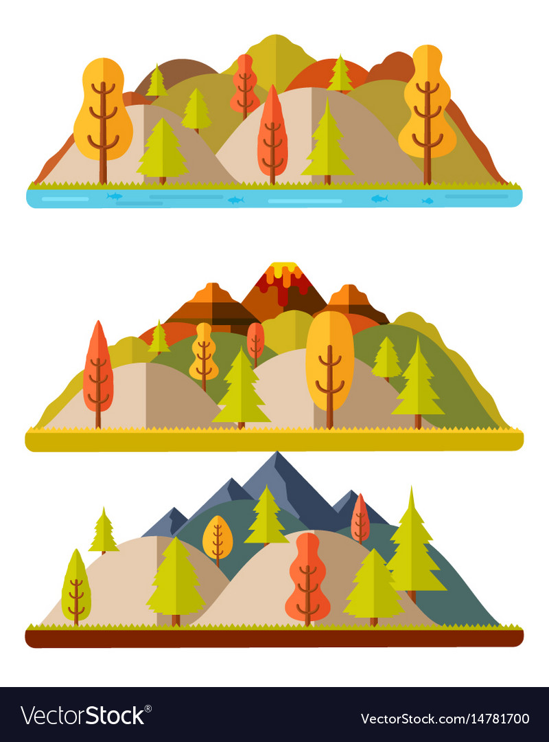 Autumn nature landscapes hills and mountains