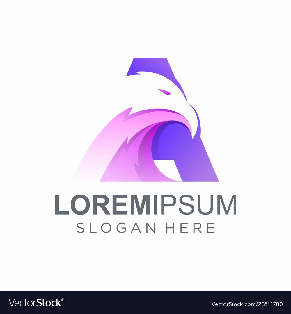 Awesome letter a eagle logo design
