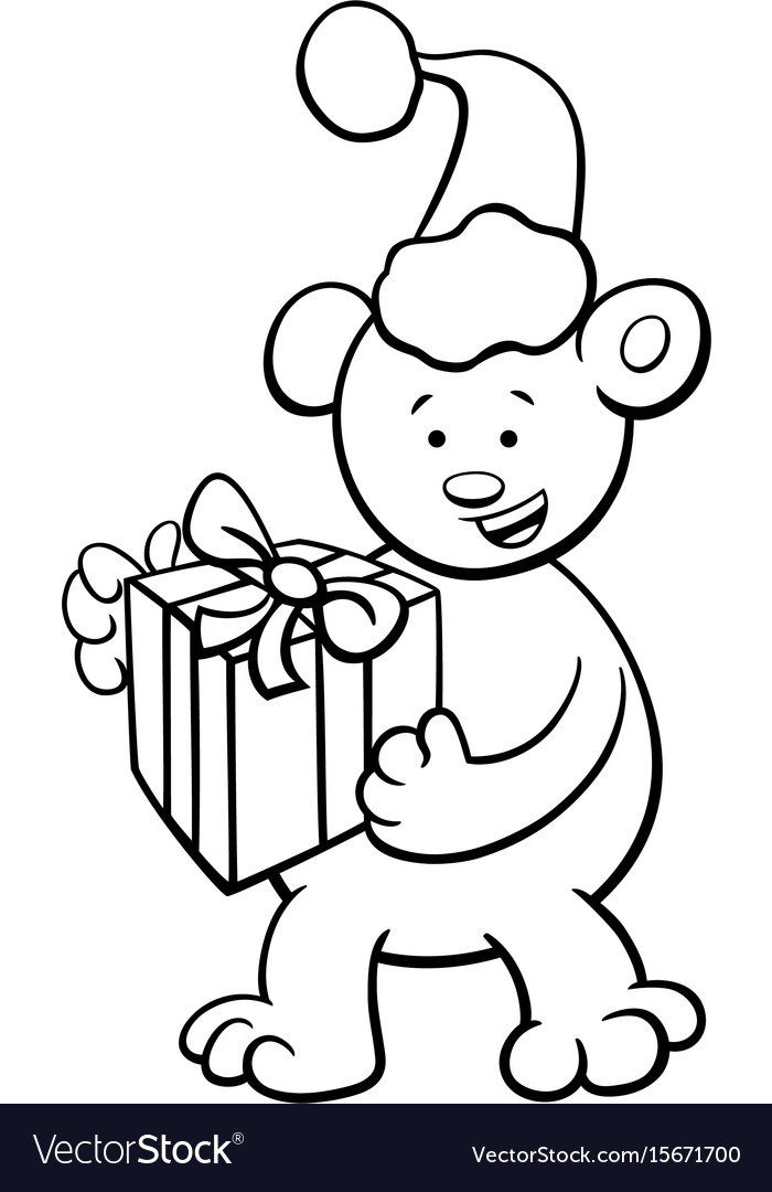 bear on christmas coloring book vector image