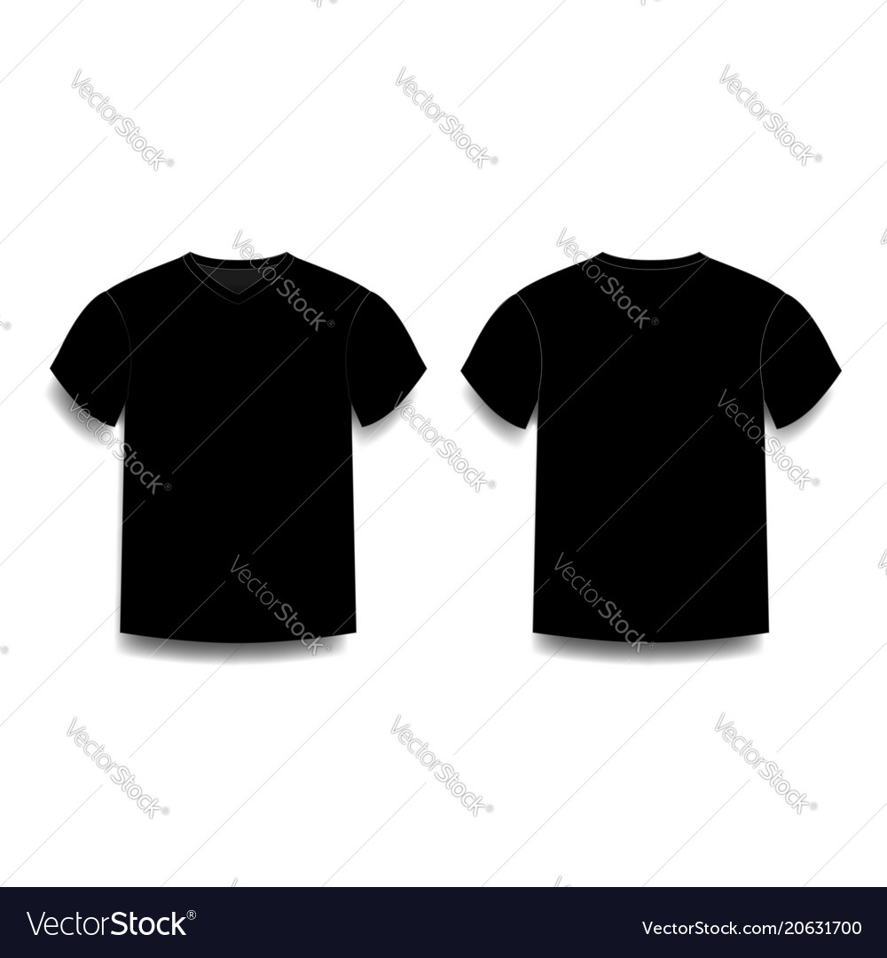 Black Male T Shirt Template V Neck Front And Back Vector Image